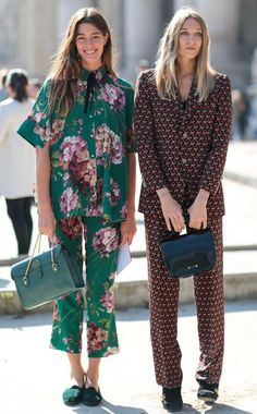 estilo pijama - Fall-Perfect Pair from Street Style at Paris Fashion Week Spring 2016 Street Style Outfits, Mode Outfits, Fashion Outfits, Fashion Clothes, Co Ords Outfits, Street Outfit, Chic Outfits, Street Wear, Fashion Mode