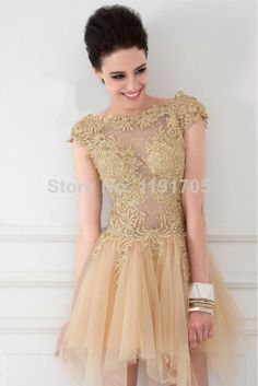 Free shipping Elegant  High Collar Beaded Backless Yellow Prom dress 2014 Ball Gown Mini Evening Gowns 2014 New Arrival $159.00