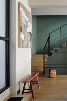 Step inside this colourful artisan home, once a forties modernist house, located in Paris' arrondissement. Each room comes alive in an array of Hallway Ideas Entrance Narrow, Modern Hallway, Dark Hallway, Upstairs Hallway, Hallway Colours, Dark Green Walls, Hallway Decorating, Decorating Ideas, Elegant Homes