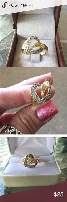 Heart Ring ⚡️PRICE FIRM⚡️Victoria Townsend Sterling Silver gold tone CZ'sHallmarked 925 DBJSize 8.75 Victoria Townsend Jewelry Rings