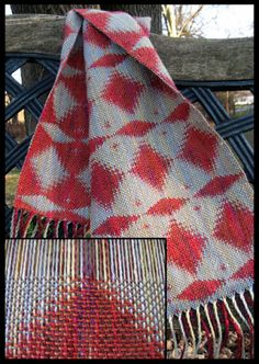 "Double Weave Coral Scarf, pearl & slub cotton & linen, 9""x 65"", 2011 (detail shows work in progress on the loom)"