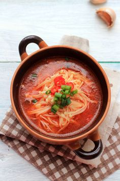Easy Enoki Mushroom Soup made with fresh ingredients.  Quick summertime soup recipe.