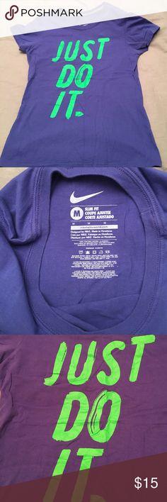 Nike workout t-shirt Nike workout t-shirt, size medium, slim fit. Color is blue-ish purple color. Nike Tops Tees - Short Sleeve