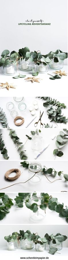 Adventskranz selber machen: DIY Idee zum Basteln | Auf dem Blog zeige ich euch, wie ihr einen Upcycling Adventskranz aus Altglas selber basteln könnt – mit botanischen Elementen aus Eukalyptus und Leder. Noch mehr kreative Ideen für Weihnachten, die Adventszeit und für selbstgemachte Geschenkideen findet ihr auf dem Blog!
