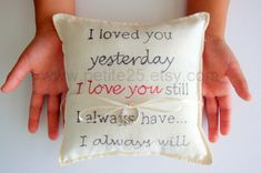 I Love You ring bearer pillow simple rustic engagement by Petite25, $24.00
