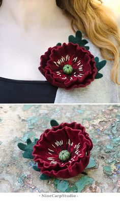 Handmade felted wine red poppy brooch is a great Christmas gift idea for Mom and for Wife.  Measures: • Length: approx 2 (10 cm) • Width: approx 2.5 (12 cm)  Materials: • Natural merino wool • Embroidery thread • Metal wire • Safe metal pin  Details: • This brooch is made to order (2-5 days) • All items are carefully packaged and ready-to-gift  Delivery: • All packages are sent via International registered airmail from Ukraine • Usually delivery takes about 12-14 days, but sometimes up to…