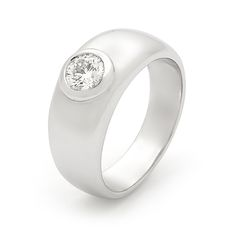 Half carat brilliant cut diamond bezel set in a wide satin finished band. A favourite ring by Wendy Manzo