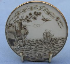 French mourning miniature.....ca. 1780's...the two birds (winged souls) tying the knot of eternity...the ship as the passage of a soul toward the afterlife.  Possibly, a love forever unbroken despite the distance.   Double sided.