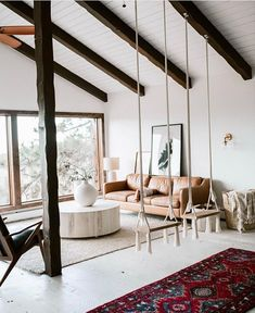 Beautiful hygge living room complete with swings! Home Accessories, Beautiful hygge living room complete with swings! Living Room Decor Cozy, Living Room Grey, Living Room Interior, Room Swing, Indoor Swing, Ideas Geniales, Scandinavian Living, Living Room Designs, Ideas
