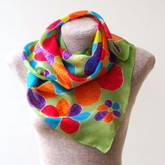 FREE SHIPPING Summer meadow  handpainted silk scarf  by Monteboo