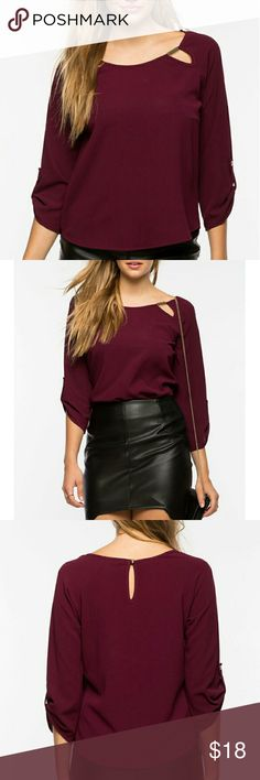"""❤NEW! About Last Night Blouse❤ New with Tags 💋Take on the night in style in this textured woven blouse! It features a metal keyhole cut-out neckline with 3/4 button tab sleeves. Unlined. Color: Wine/Burgundy 🍁Measures approx. 21"""" long,  34-36"""" chest, 32-34"""" waist, 17"""" sleeve length  🍁100% Polyester  🍁Made in USA 🍁Hand wash cold 🍁Model is wearing size S 🍁Model is 5'10"""", 34"""" bust, 24"""" waist, 34"""" hips ✔All Reasonable Offers Accepted  ✔Bundle Discounts!💲💲💲 ❌NO Lowballing Thank you for…"""