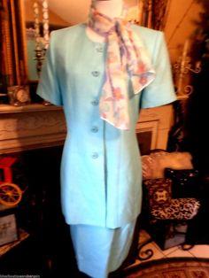 Le Suit Women's Pastel Blue Short Sleeve Skirt Suit  Floral Scarf SZ 10  #LeSuit #SkirtSuit