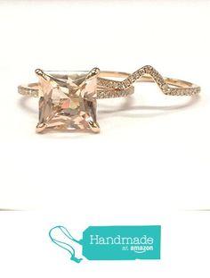 Princess Morganite Engagement Ring Bridal Set Pave Diamond Wedding 14K Rose Gold 8mm ,Curved Band from the Lord of Gem Rings https://www.amazon.com/dp/B01GVSBVBG/ref=hnd_sw_r_pi_dp_.-dHxb28H8XT0 #handmadeatamazon