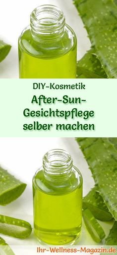 Make after-sun facial care yourself - recipe and instructions .- After-Sun-Gesichtspflege selber machen – Rezept und Anleitung DIY cosmetic recipe Make after-sun facial care yourself – 2 refreshing, cooling recipes it Yourself care cosmetics - After Sun, Diy Beauty, Beauty Hacks, Aleo Vera, Image Skincare, Hair Repair, Facial Care, Diy Hairstyles, Skin Care Tips