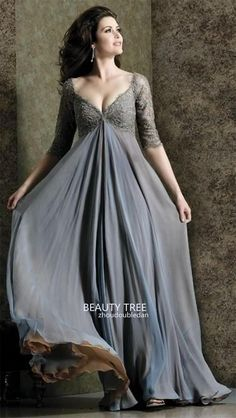 Plus Size Grey Evening Dresses V Neck with Appliques Empire A Line Elegant Chiffon Half Sleeve Long Formal Dresses for Pregnant Woman BT87 Online with $149.75/Piece on Zhoudoubledan's Store | DHgate.com