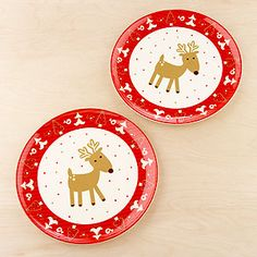 Reindeer Plates, Set of 4