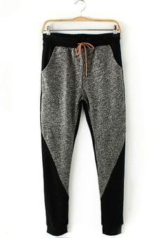 Grey Patchwork Mid Waist Loose Cotton Blend Pants