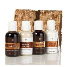 Barista Bath and Body Travel Envelope 4-piece Kit -Coffee Shampoo, Shower Gel, conditioner, body creme *** Find out more details by clicking the image : Travel toiletries