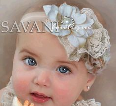 Baby headband, ivory headband,newborn headband, vintage headband, shabby chic roses headband, headband