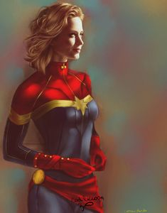 Emily Blunt as Captain Marvel, Bruno Ferreira on ArtStation at https://www.artstation.com/artwork/lEo25 -