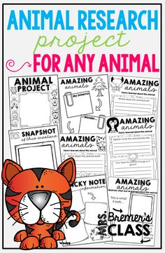Animal Research Projects {for ANY animal} 2nd Grade Activities, 1st Grade Science, First Grade Worksheets, Spring Activities, Writing Activities, First Grade Books, 1st Grade Writing, Animal Projects, Book Projects