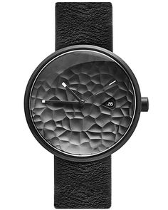 Projects Watches Carve Watch Quartz Acier Inoxydable IP Noir Date Gris Cuir Unisexe Montre All Black Watches, Modern Watches, Luxury Watches For Men, Cool Watches, Men's Watches, Simple Watches, Trendy Watches, Watches Online, G Shock Watches Mens