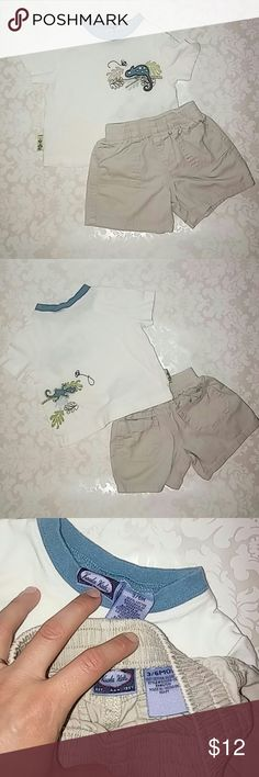 Boy's T-shirt and shorts set Boy's chameleon lizard  t-shirt and khaki shorts set. All items come from a smoke-free, pet-free home. Please submit offers through the offer button. Check out my closet for free gift with purchase. Koala Kids Matching Sets