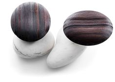 #seating #stool | River and Stream stools in brushed larch and Bianco Estremoz marble by Kreoo.