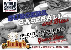 Catch all the MLB #worldseries games RIGHT HERE at Lucky's Burger & Brew Brookhaven! Chicago Cubs vs Cleveland Indians! Don't forget to join us for #Trivia TONIGHT at 7:30!