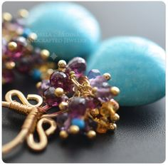 Blue Turquoise, Garnet, Amethyst and Gold Filled One Of a Kind Earrings