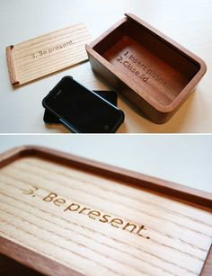 Most of us need help remembering what's most important sometimes. This little box does just that. A simple, friendly, beautifully crafted little wooden phone holder that reminds you to be fully present with the people you love. Simply set your phone inside, slide the lid closed, and pay attention to what's actually going on around you. For sale starting Saturday, July 13th.