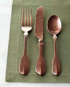 20-Piece+Copper+Hammered+Flatware+Service+at+Horchow.