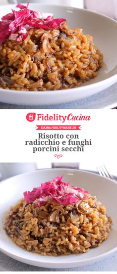 Risotto con radicchio e funghi porcini secchi Mediterranean Diet, Rice Recipes, Bon Appetit, Grains, Good Food, Food And Drink, Vegetables, Cooking, Breakfast