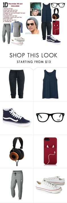 """Day 2: Casual date with my fave"" by dino-satan666 ❤ liked on Polyvore featuring Uniqlo, Vans, Muse, Kate Spade, NIKE, LE3NO and Converse"