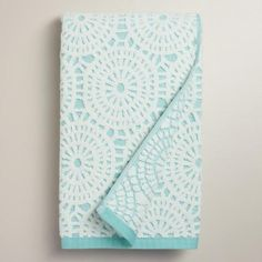 One of my favorite discoveries at WorldMarket.com: Porcelain Blue Lydia Medallion Sculpted Bath Towel
