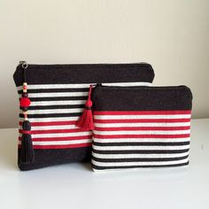Black and Red Stripe Clutch,Woven Clutch,Black and Red Clutch,Red Clutch Bag,Black and White Stripe Clutch,Boho Mini Bag,Boho Zipper Clutch by GFMODE on Etsy