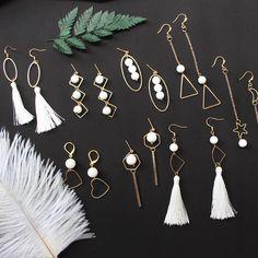 Natural beaded feather earrings Ear clip925 tremella hook