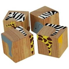 Buddy Blocks Safari Animals - Wooden Puzzle Set-Block set with color matching puzzle - all in one! A block set that grows with your child! Each 4 piece block forms 6 different puzzles featuring colorful Jungle animals. Toddlers will enjoy stacking th Wooden Puzzles, Wooden Blocks, Wooden Toys, Blocks For Toddlers, Stacking Blocks, Colorful Animals, Baby Blocks, Kids Wood, Safari Animals