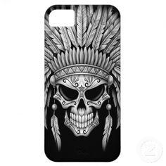 Dark Native Sugar Skull with Headdress iPhone 5 Case cover Native Art, Native American Art, Indian Skull Tattoos, Men Flower Tattoo, Totenkopf Tattoos, Custom Iphone Cases, Marquesan Tattoos, Skull Tattoo Design, Tattoo Designs