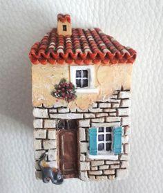 Miniature maison de Provence petit chat J. Carlton Dominique Gault NEUF!