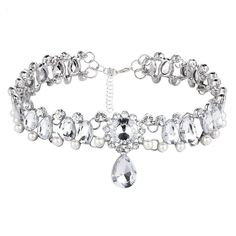 Make a statement with this elegant Water Drop Crystal Bead and Simulated Pearl Choker. This choker necklace is guaranteed to turn heads and get attention. Available in 2 styles, silver and gold. Crystal Bead Necklace, Diamond Solitaire Necklace, Beaded Choker Necklace, Crystal Choker, Crystal Beads, Danty Necklace, Pearl Choker, Necklaces, Necklace Price