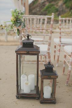Giant aisle lanterns. white + white weddings.