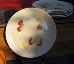 Metlox Vernonware Vernon SHERWOOD 5 Dinner plates Autumn Fall Leaves MCM WOW! #MetloxPoppytrailVernonware