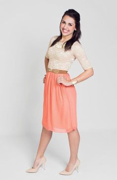 """Modest Dresses for Church, LDS Modest Dresses, Modest Casual Dresses, Modest Dress, Church Dresses - - """"Madison"""" Modest Dress in Beige/Coral Source by Modest Bridesmaid Dresses, Modest Dresses, Modest Outfits, Skirt Outfits, Modest Fashion, Cute Dresses, Dress Skirt, Cute Outfits, Fashion Outfits"""