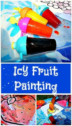 Icy fruit matching painting. Art and sensory fun for a hot summer day