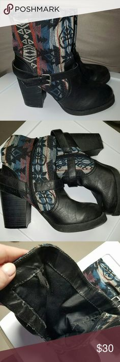 Tribal Design Booties Tribal design booties with buckles and a zipper. So cute!! There just a tad to small but I couldn't pass them up lol. Worn only a few times. Some wear and tear shown in pics. Still great condition. Most are just fly away stringers. I showed a picture of the inside there is a loop on both pairs, they were hung when I bought them so maybe that's why. Idk weird ha.   ??feel free to ask questions?? Lowball offers with be blocked and I do not trade, sorry. So please don't…