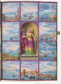 Colorful book plate from Voyages et aventures / de Ch. Magius 1578