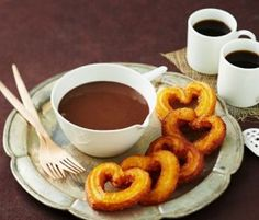 Valentine's Day Churros with Milk Chocolate Sauce: . http://www.bakers-corner.com.au/recipes/desserts/chocolate/valentines-day-churos-with-milk-chocolate-sauce/