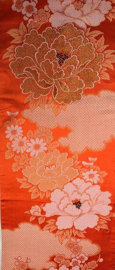 "5378: Silk Table-Runner From Vintage Japanese Maru-obi, Peonies,Plum Blossom,46"""