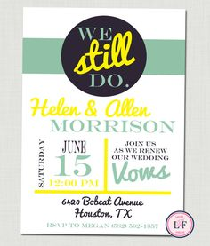 We Still Do Invitation printable Vow Renewal Invite by laceyfields, $10.00